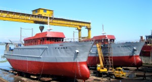 41 M long 250 ton capacity fishing vessels standing on the slipway of Western Marine