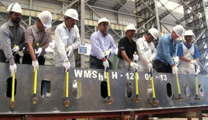 First hammering on aluminum keel in Western Marine Shipyard
