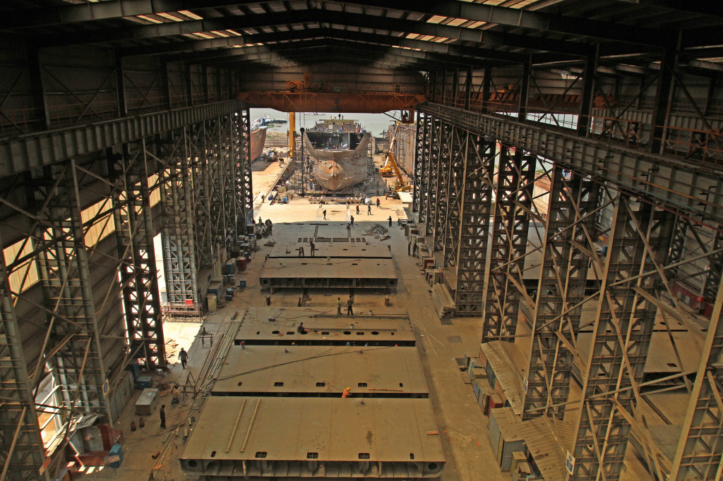A block fabrication facility at Western Marine Shipyard