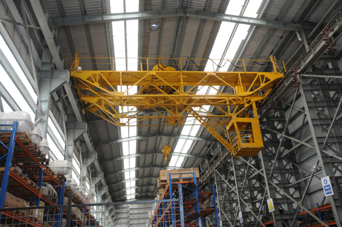 An overhead crane in Western Marine fabrication shed