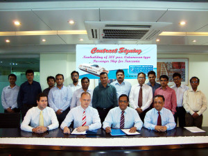 Director of JGH Marine Mr. Niels Holstein & Managing Director of Western Marine Mr. Sakhawat Hossain signing the newbuilding agreement in presence of other officials.