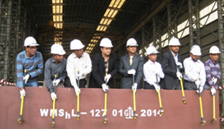 Keel Hammering for one 176 TEUs container vessel for Aryan Trades